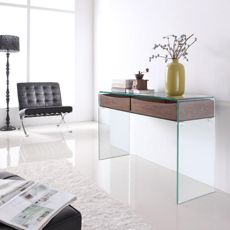 Consola de diseño en vidrio y madera Glasswood