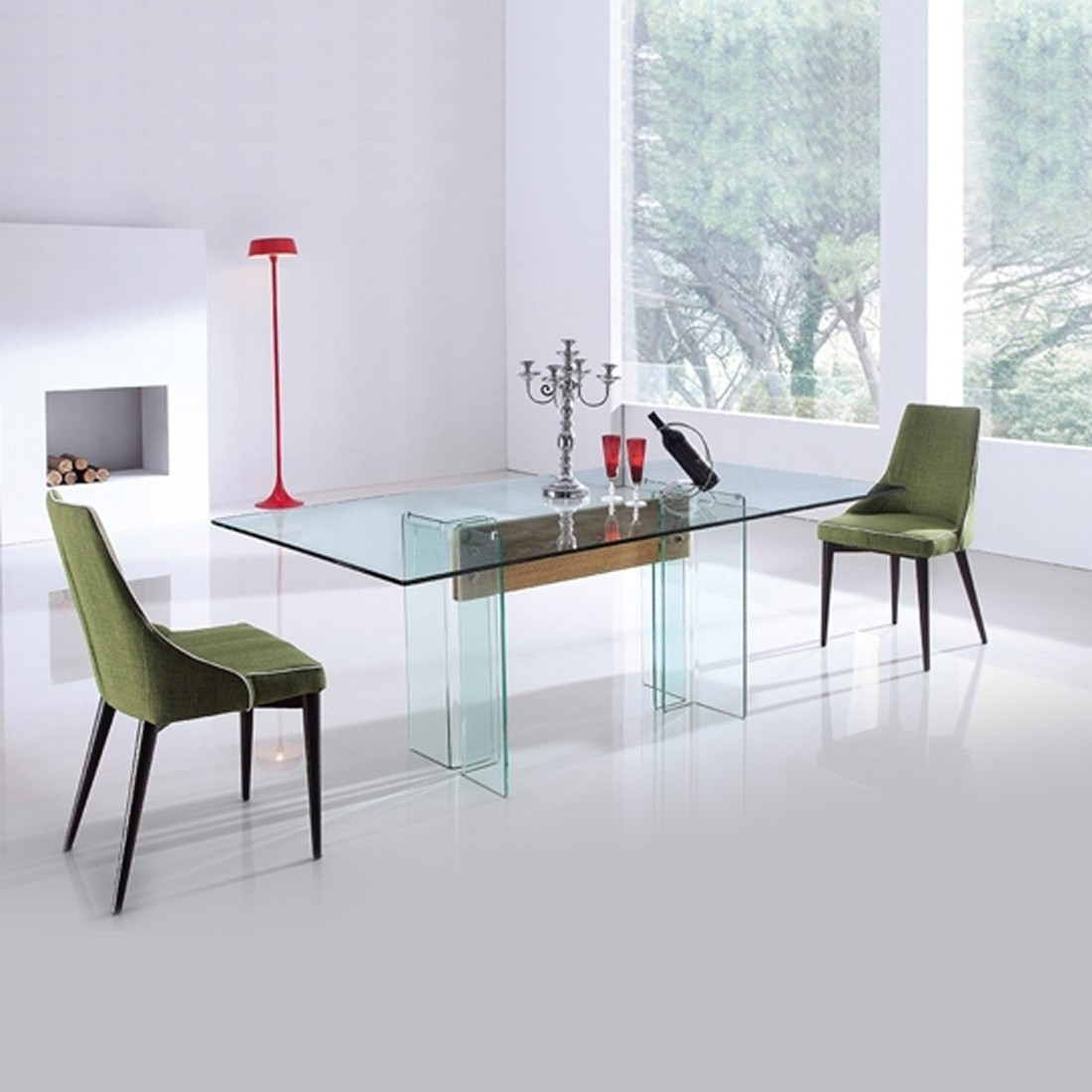 Table manger en verre et bois design glasswood for Table extensible verre et bois