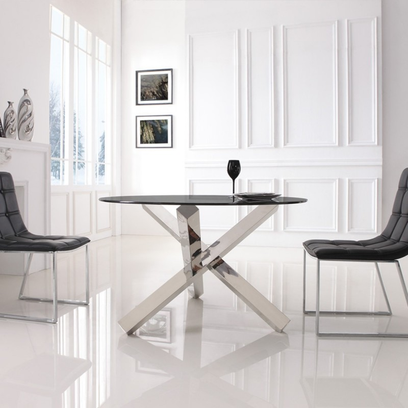 table manger ronde en verre transparent elia. Black Bedroom Furniture Sets. Home Design Ideas