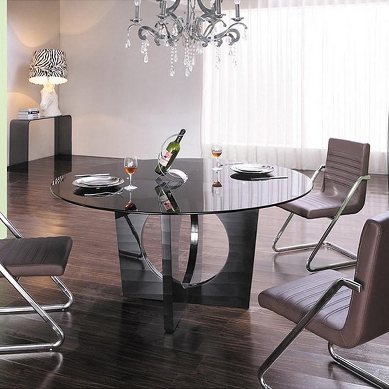 table manger ronde en verre madisson. Black Bedroom Furniture Sets. Home Design Ideas