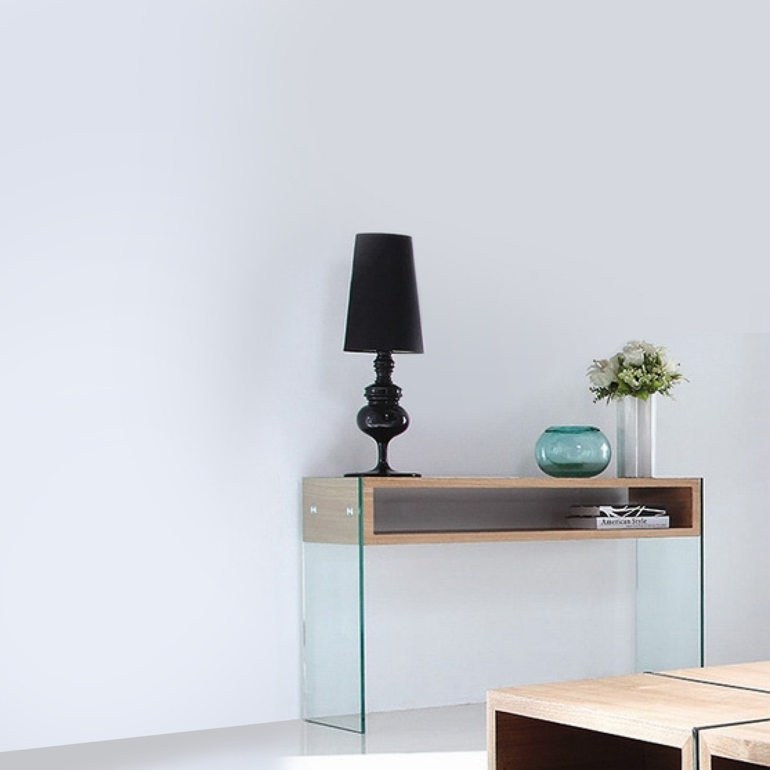 console en verre design woodi. Black Bedroom Furniture Sets. Home Design Ideas