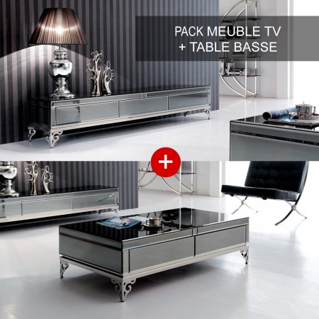 Elegante conjunto de mueble de TV y mesa de centro