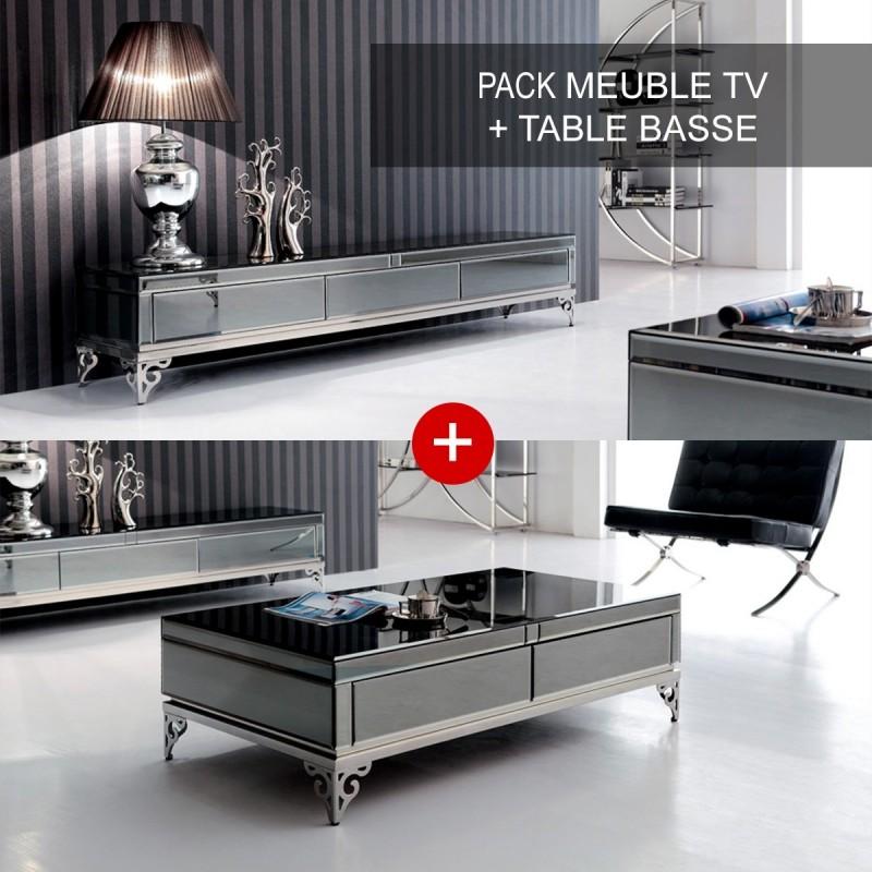 Ensemble meuble télé et table basse Elégante