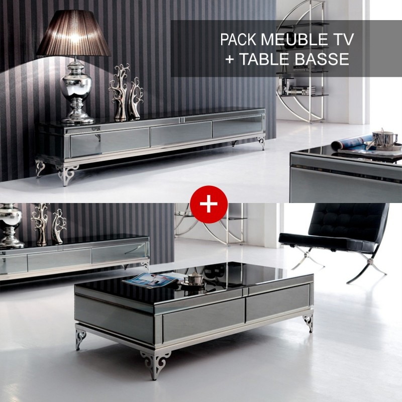 Ensemble Meuble T L Et Table Basse El Gante # Ensemble Meuble Tv Table Basse Bois