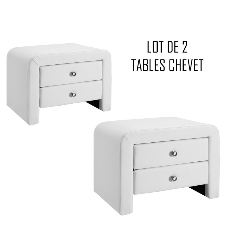 Lot de 2 tables de chevet blanches design Eva - MEUBLERDESIGN