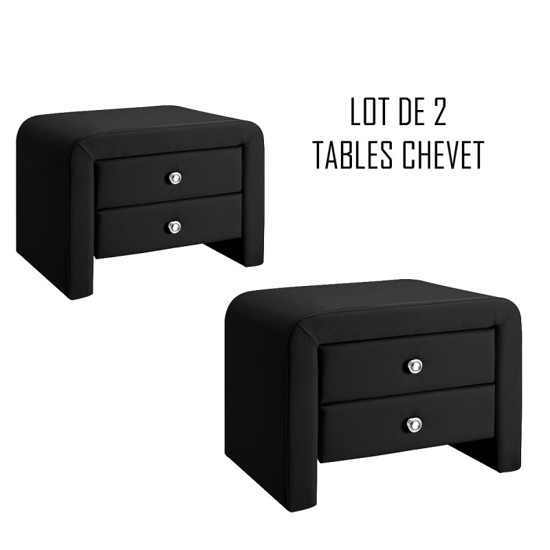 lot de 2 tables de chevet eva noir meublerdesign. Black Bedroom Furniture Sets. Home Design Ideas