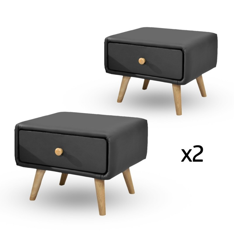 Lot de 2 chevet scandinave design noir - Table de chevet cuir blanc ...