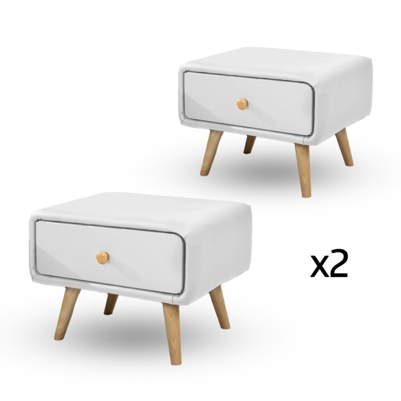 Lot De 2 Chevet Scandinave Design Blanc