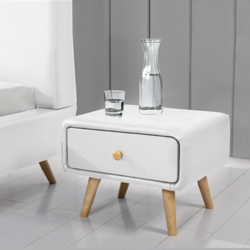 Lot de 2 tables de chevet blancs design scandinave meublerdesign - Table de chevet style scandinave ...