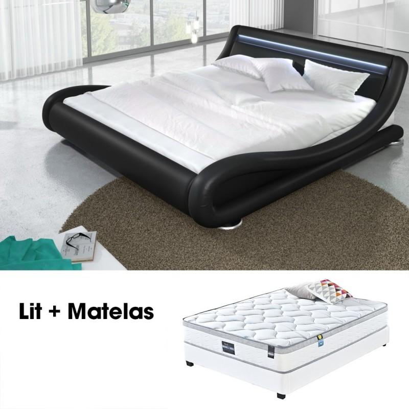 lit double 160 led int gr et matelas design julia noir meublerdesign. Black Bedroom Furniture Sets. Home Design Ideas