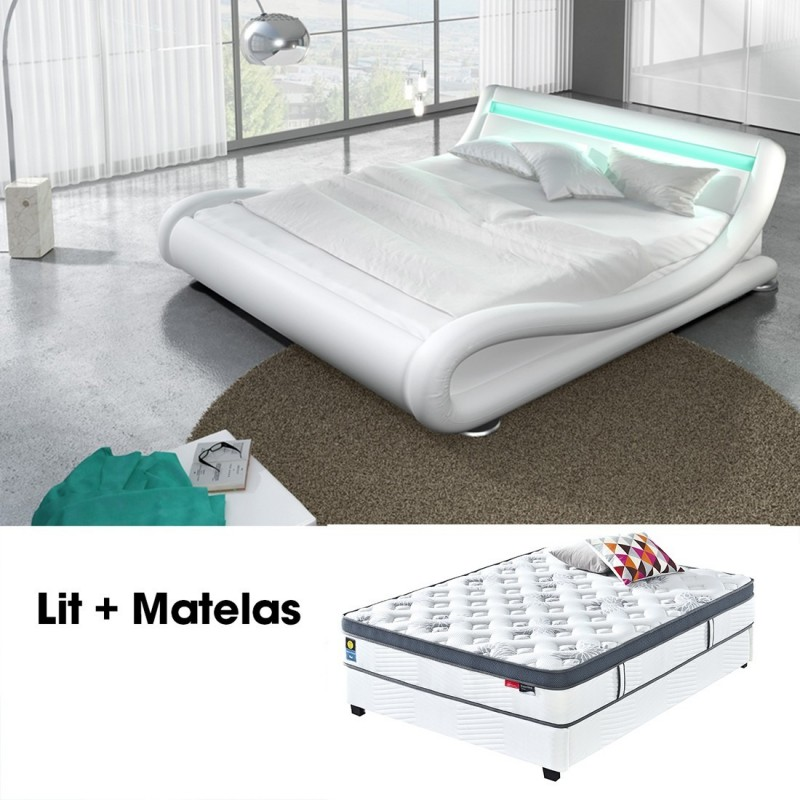 lit double 140 avec matelas design julia blanc meublerdesign. Black Bedroom Furniture Sets. Home Design Ideas