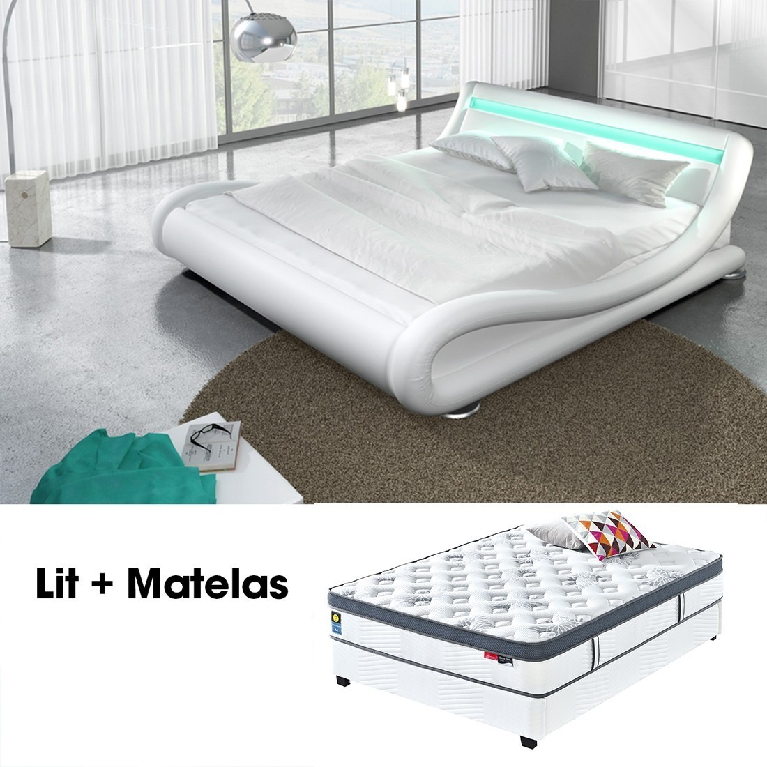 lit matelas julia blanc 140cm avec matelas star en latex. Black Bedroom Furniture Sets. Home Design Ideas