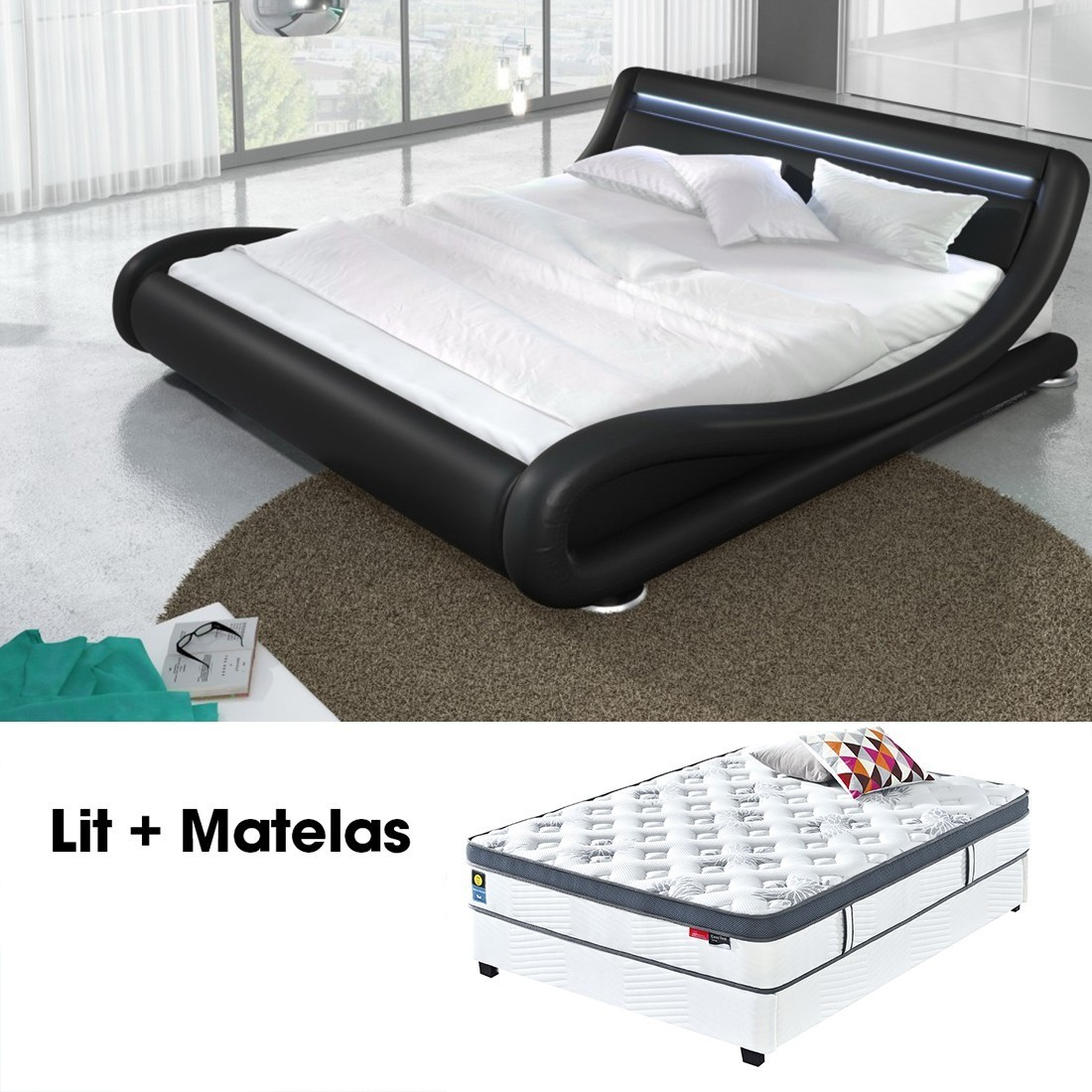 lit led julia noir 160cm avec matelas star en latex. Black Bedroom Furniture Sets. Home Design Ideas