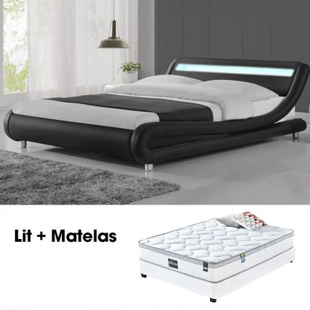 Lit led design Julio Noir 160cm avec Matelas Romance