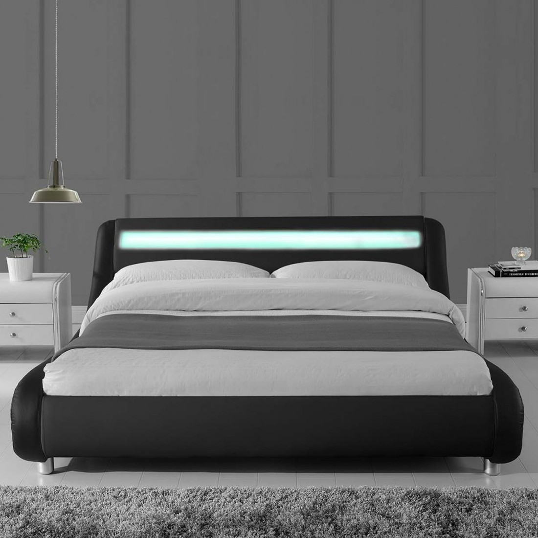 lit led design julio noir 160cm avec matelas romance. Black Bedroom Furniture Sets. Home Design Ideas