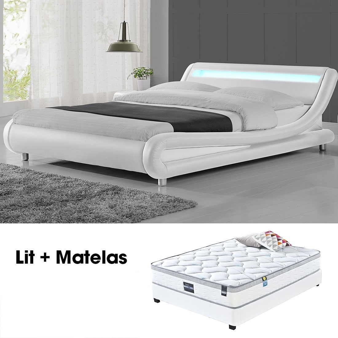 lit led design julio blanc 160cm avec matelas romance. Black Bedroom Furniture Sets. Home Design Ideas