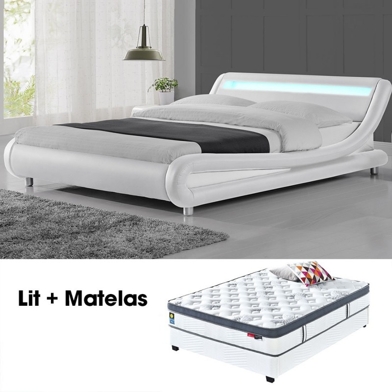 lit led design julio blanc 160cm avec matelas star. Black Bedroom Furniture Sets. Home Design Ideas