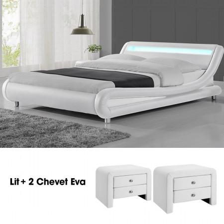 Lit design Julio140 avec 2 tables chevet EVA en blanc