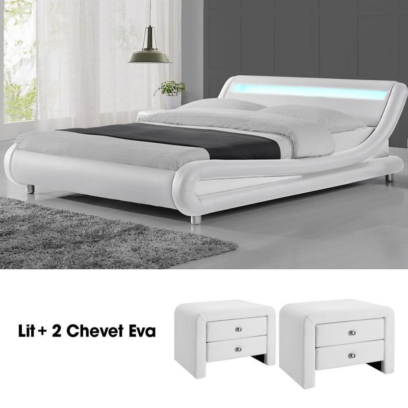 lit design julio140 avec 2 tables chevet eva blanc. Black Bedroom Furniture Sets. Home Design Ideas