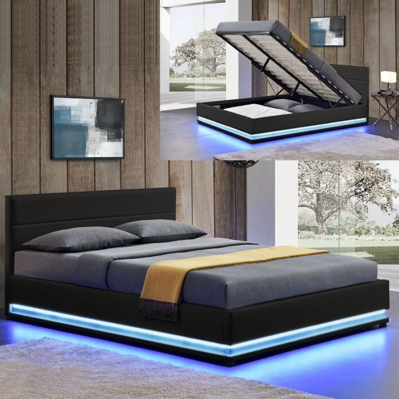Ava lit sommier adulte avec led sommier inclus for Lit a coucher adulte