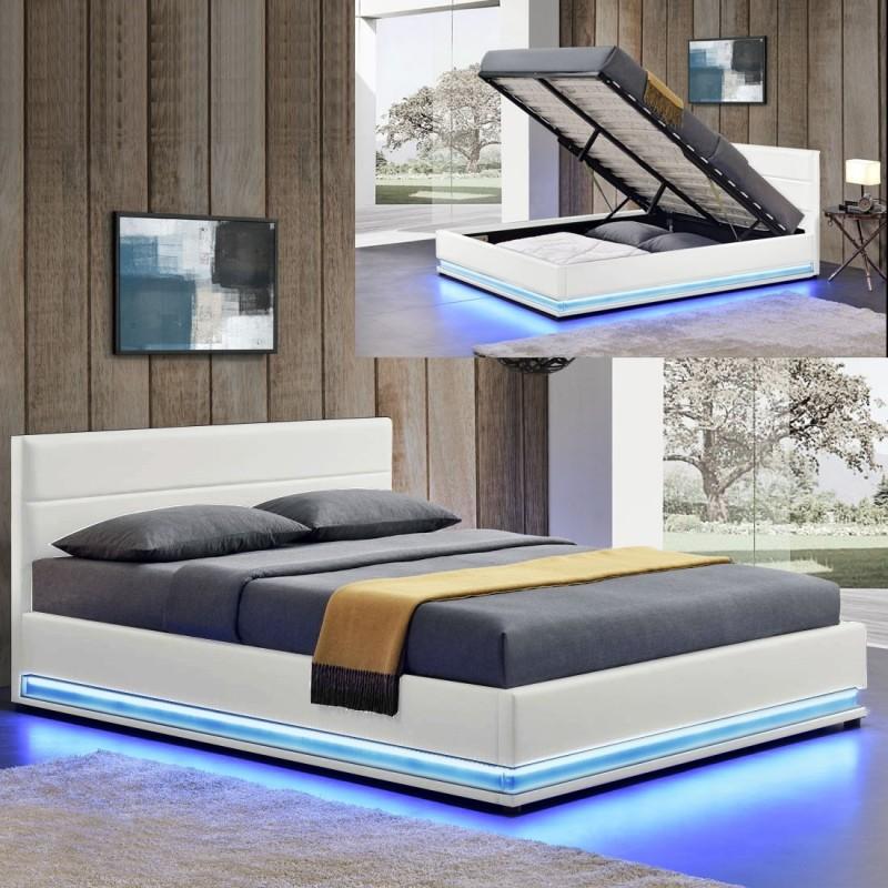 ava lit sommier adulte avec led sommier inclus. Black Bedroom Furniture Sets. Home Design Ideas
