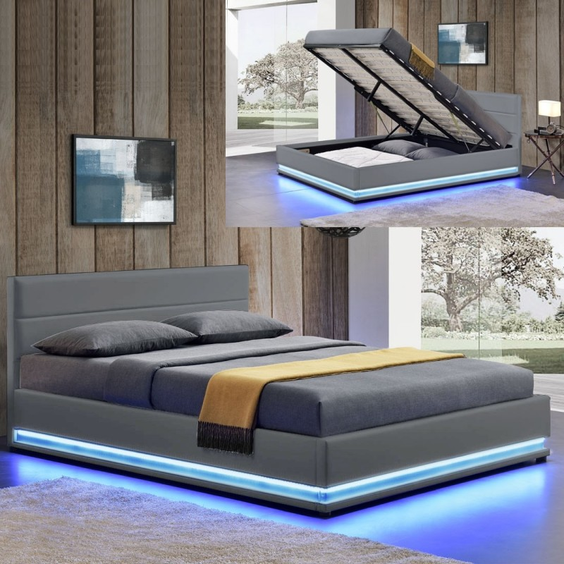 lit ava avec coffre de rangement et led int gr. Black Bedroom Furniture Sets. Home Design Ideas