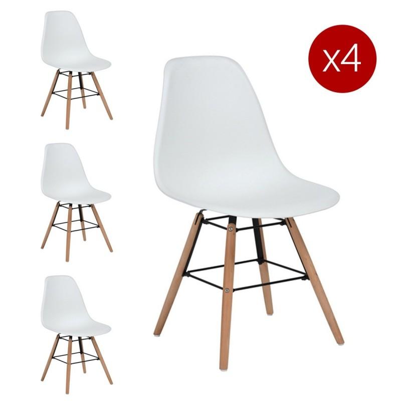 lot de 4 chaises scandinaves blanc argus. Black Bedroom Furniture Sets. Home Design Ideas
