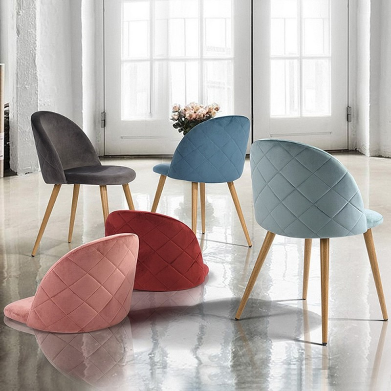 Chaise Scandinave Velours Lot De 2 Damiers