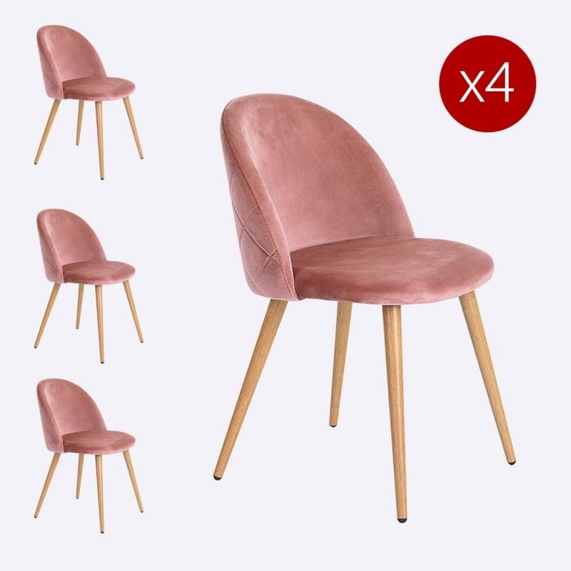 chaise scandinave velours lot de 2 damiers. Black Bedroom Furniture Sets. Home Design Ideas