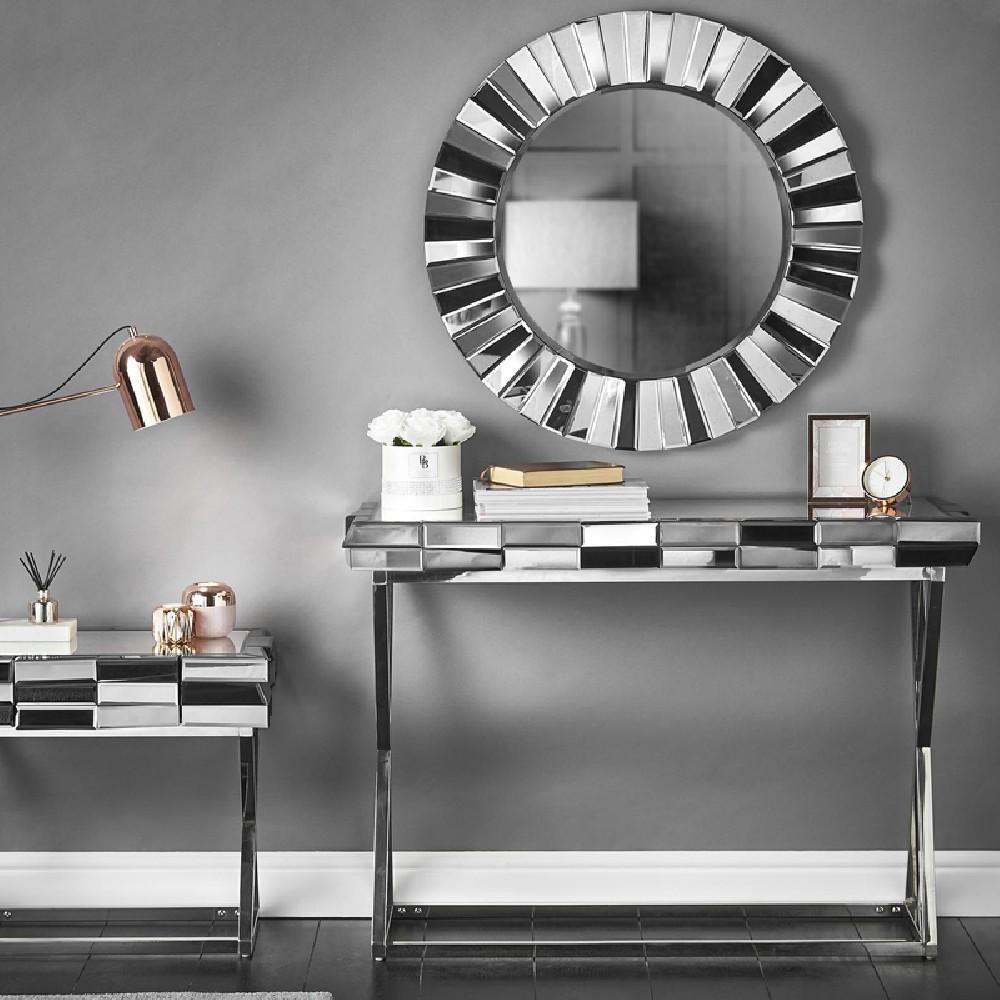 Ensemble Console et miroir design en verre miroir 3D