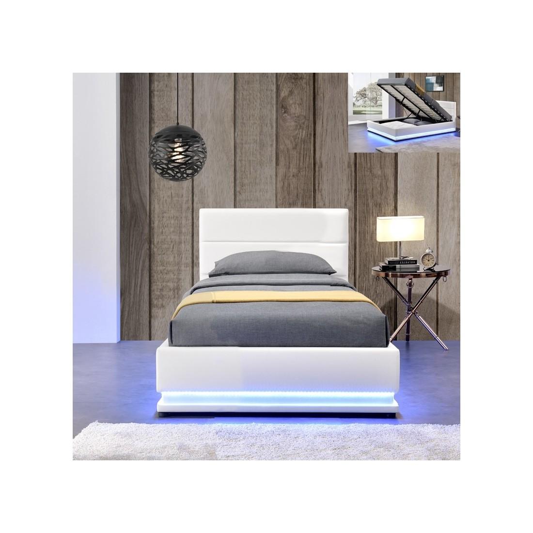 lit led avec sommier coffre de rangement ava meublerdesign. Black Bedroom Furniture Sets. Home Design Ideas