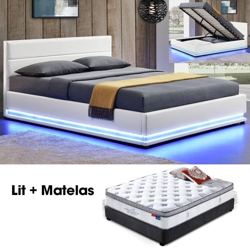 lit 140 blanc ava avec rangement int gr et matelas pure. Black Bedroom Furniture Sets. Home Design Ideas