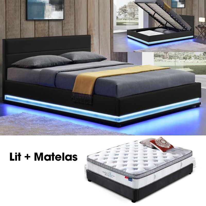 lit 140 avec matelas et sommier ava noir meublerdesign. Black Bedroom Furniture Sets. Home Design Ideas