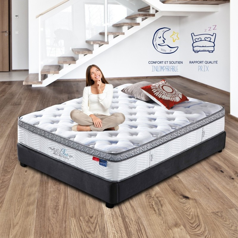 lit ava avec matelas 140 ressorts ensach s meublerdesign. Black Bedroom Furniture Sets. Home Design Ideas