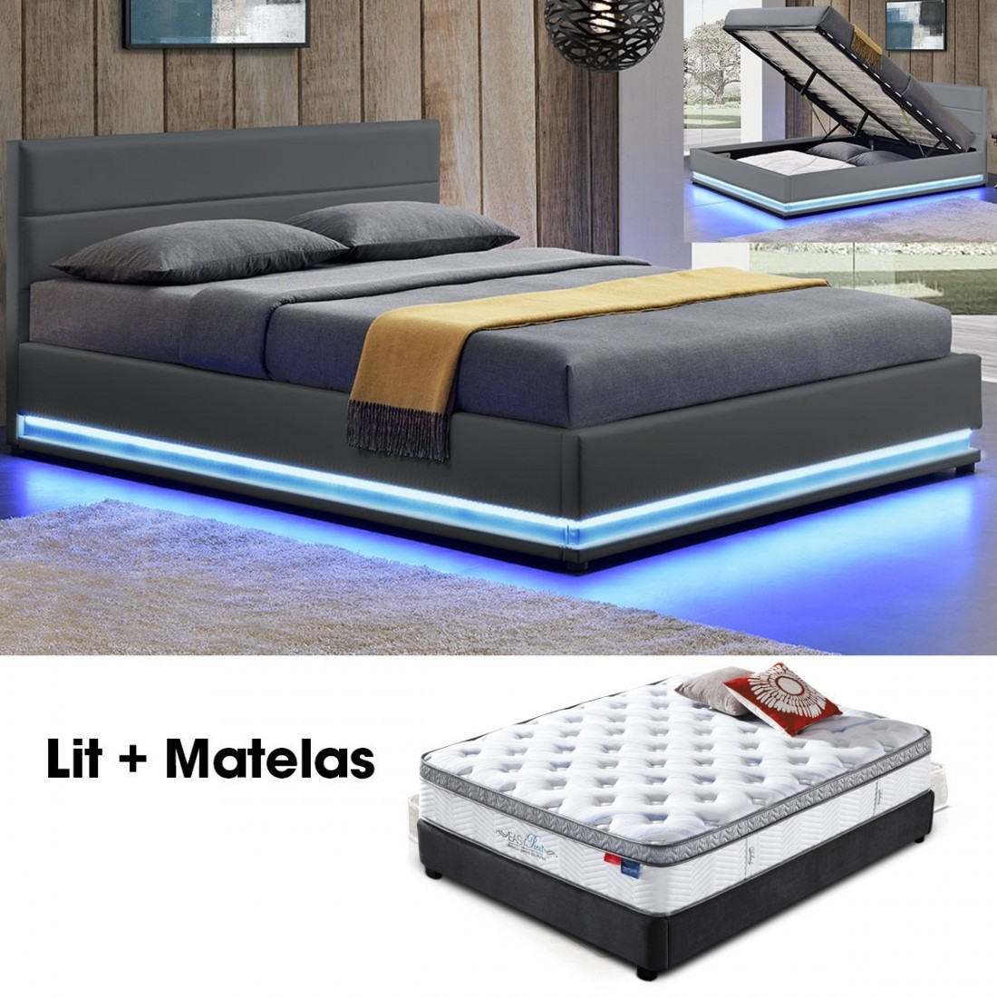 matelas plus sommier. Black Bedroom Furniture Sets. Home Design Ideas