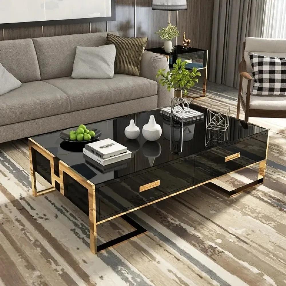 Table basse noir avec tiroirs base or laqué Luxuria