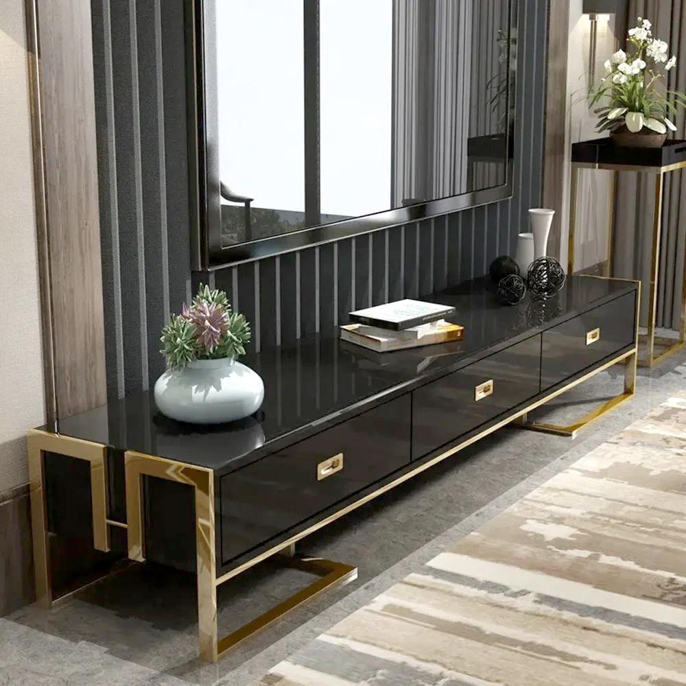 Soporte de TV negro con cajones base lacada en oro Luxuria