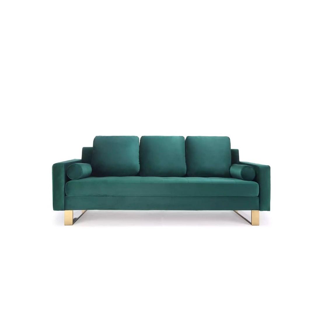 canap 3 places pied en couleur laiton qui allie le vert et le dor pour un effet design r ussi. Black Bedroom Furniture Sets. Home Design Ideas