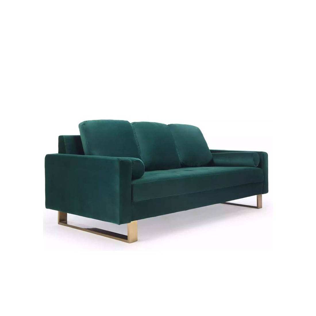 Canap 3 places pied en couleur laiton qui allie le vert for Canape 3 places design