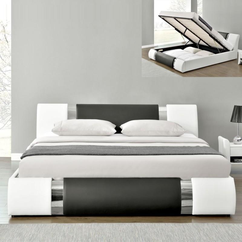 lit double 140 avec rangement int gr avec matelas lit atlantic meublerdesign. Black Bedroom Furniture Sets. Home Design Ideas