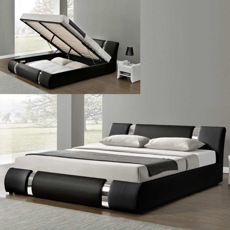 lit nova avec sommier relevable et rangement int gr. Black Bedroom Furniture Sets. Home Design Ideas