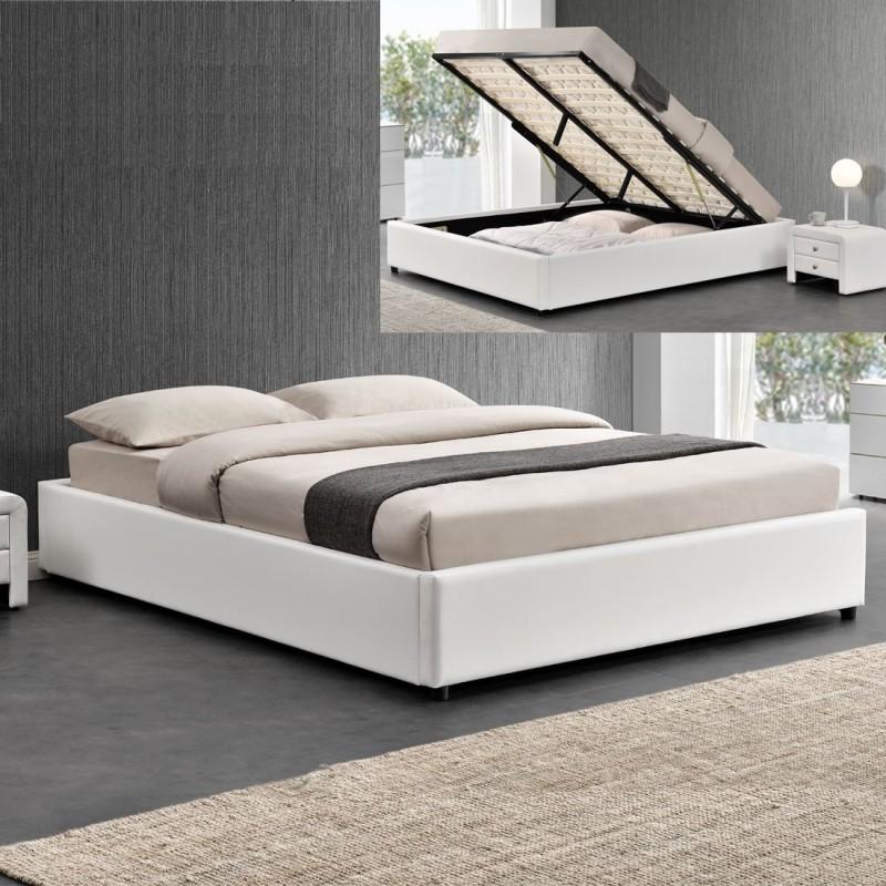lit double 140 blanc avec rangement et matelas meublerdesign. Black Bedroom Furniture Sets. Home Design Ideas