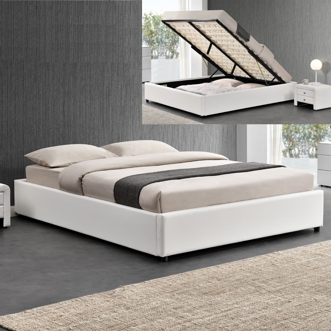 ensemble matelas sommier coffre 140 blanc. Black Bedroom Furniture Sets. Home Design Ideas