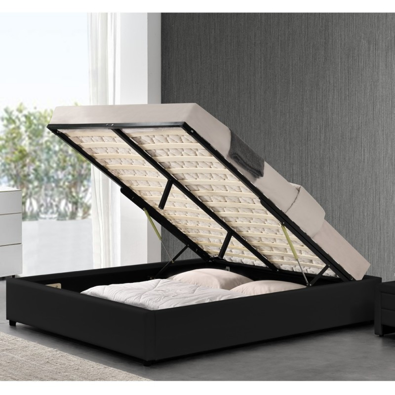 lit double 140 avec matelas lit simpli noir meublerdesign. Black Bedroom Furniture Sets. Home Design Ideas