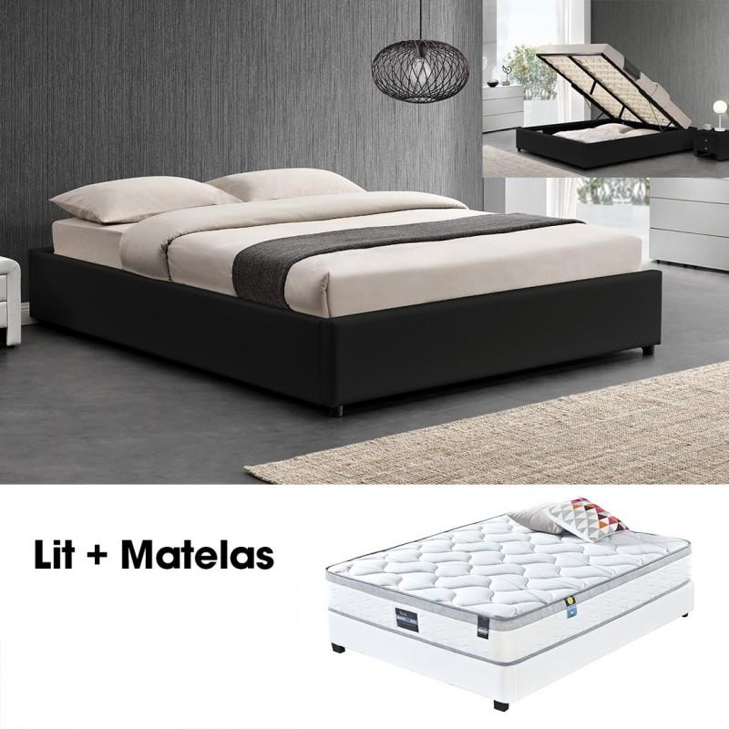 lit double 140 avec matelas lit simpli noir meublerdesign. Black Bedroom Furniture Sets. Home Design Ideas
