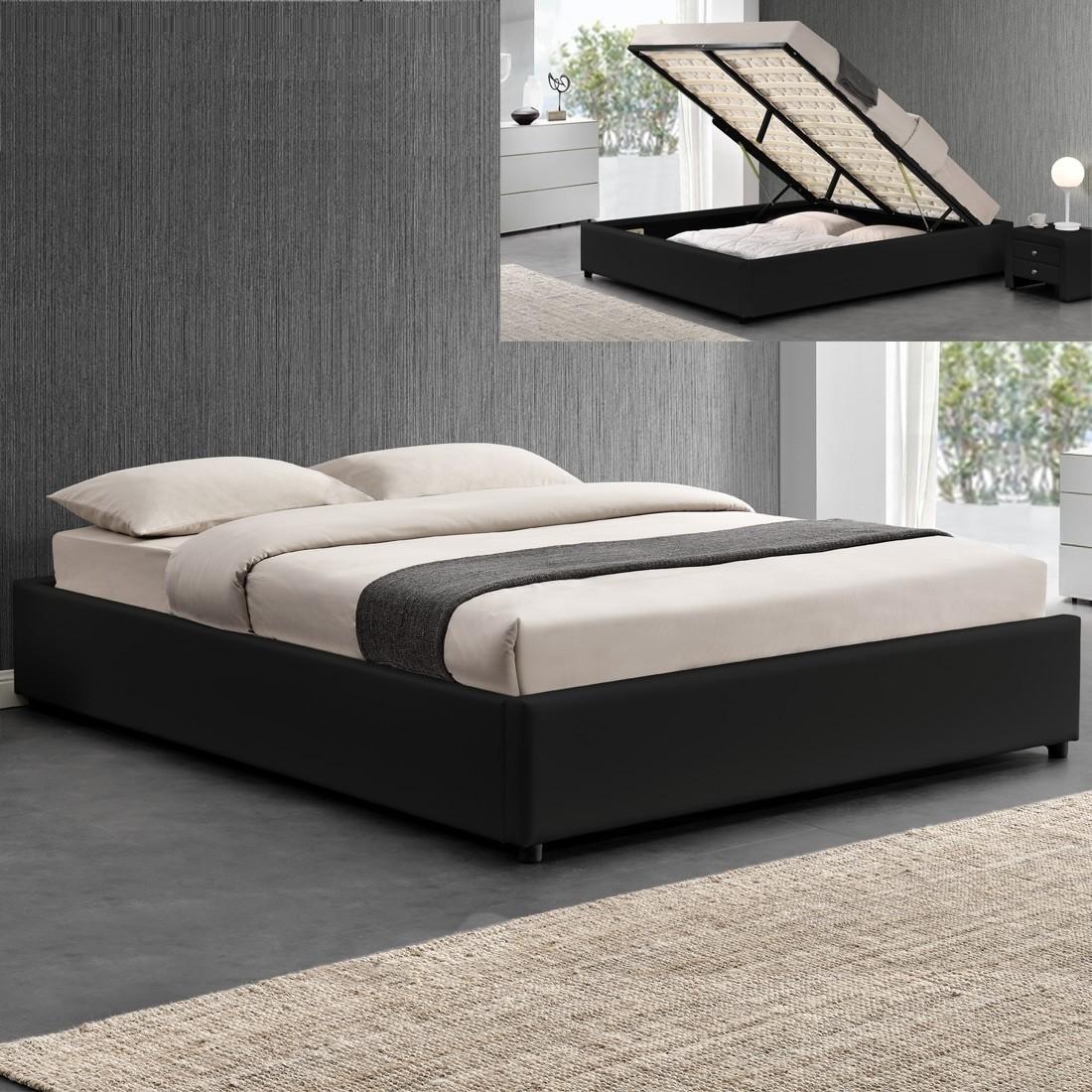 ensemble matelas sommier coffre 160 noir. Black Bedroom Furniture Sets. Home Design Ideas