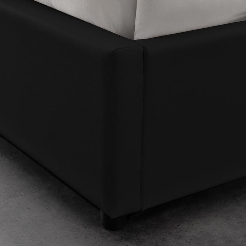 lit double 160 noir avec rangement et matelas meublerdesign. Black Bedroom Furniture Sets. Home Design Ideas