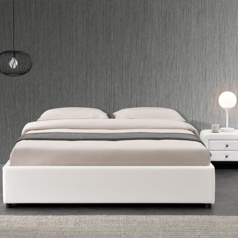 lit double 160 blanc avec rangement et matelas meublerdesign. Black Bedroom Furniture Sets. Home Design Ideas