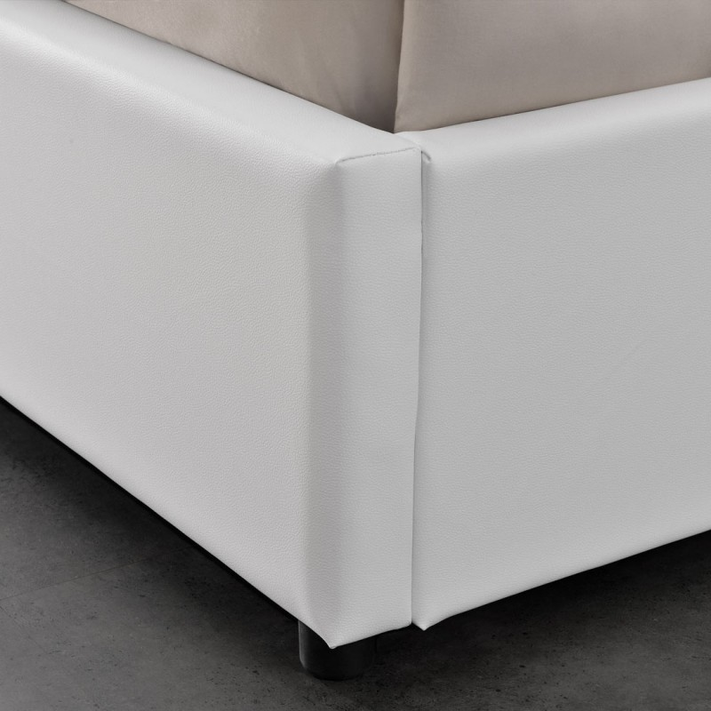 lit double 160 blanc avec rangement et matelas meublerdesign. Black Bedroom Furniture Sets. Home Design Ideas