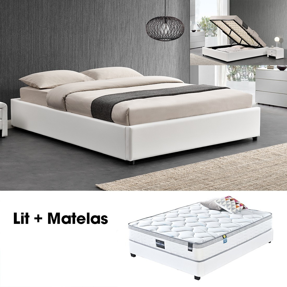 ensemble matelas sommier coffre 160 blanc. Black Bedroom Furniture Sets. Home Design Ideas